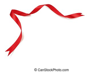 Red ribbon isolated on white.