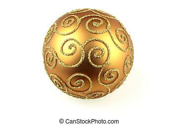 Golden ball, on white background