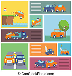 Car crash icons - Colored decorative driving safety car...