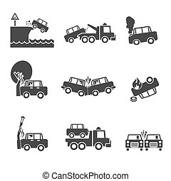 Black and white car crash icons - Black and white car...