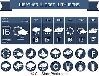 Weather widget icons set - Weather detailed forecast...