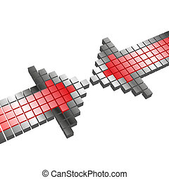 arrow - abstract illustration of two opposing arrows on...