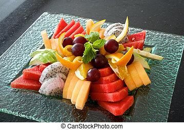 Fruit platter - Colorful summer fruit platter with...