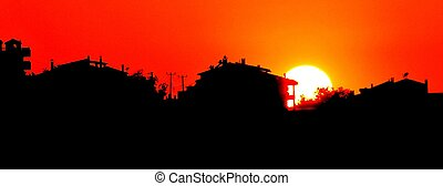 Sunset with town silhouette - Sunset with town silhouettei...