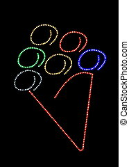Led light ice cream cone sign