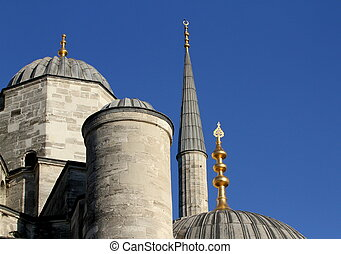 Blue Mosque domes, minaret, and gold alems