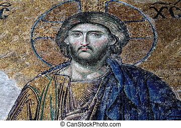 13, siglo, Deesis, mosaico, Jesús, Cristo, (known,...