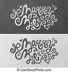 Marry Me hand lettering - handmade calligraphy, vector