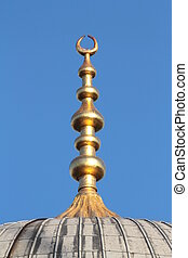 Golden alem on top of the Blue Mosque domes at Istanbul