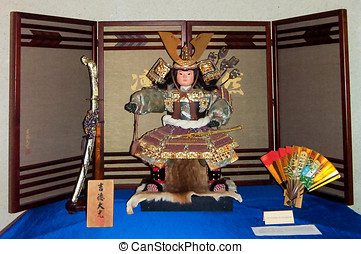 Japanese holiday boys - samurai doll in military garb