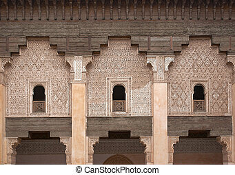 Historic Madrasa - Ornate carving on the plastered walls and...