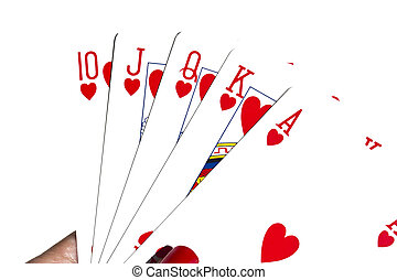 Royal flush in Hearts - Playing cards on a white background....