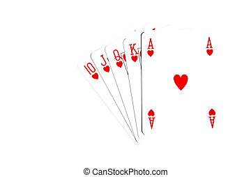 Royal flush in Hearts - Playing cards on a white background...