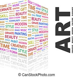 ART. Concept illustration. Graphic tag collection. Wordcloud...