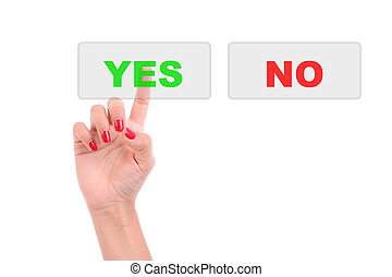 Womans Finger pressing the Yes key - Isolated over white...