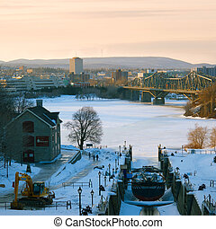 Winter in Ottawa - View of winter Ottawa with frozen river...