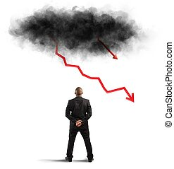 Business crisis - Concept of recession and crisis with...