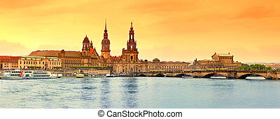 Dresden Old Town - Panorama of Dresden Old Town over the...