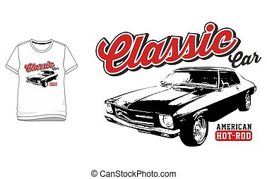 T-shirt Classic Car - hot rod vintage car vector for T-shirt...