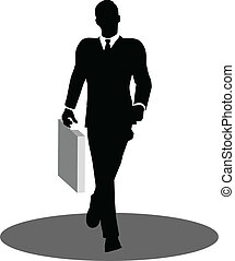 business people walking with briefcase silhouette