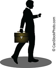business people walking with briefcase silhouette - EPS 10...