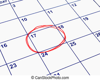 A date circled on a calendar.