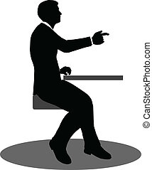 business people meeting sitting silhouette