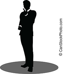 business people meeting standing silhouette - EPS 10 Vector...
