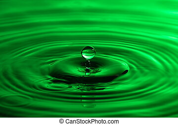 Water drop close up with concentric ripples on colourful...
