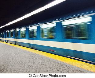 Subway train in Montreal - Montreal subway station and train...