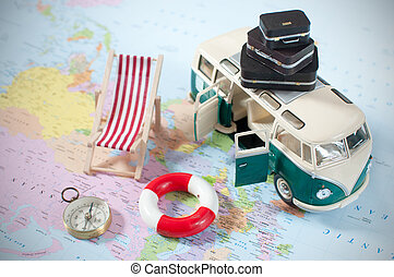 Summer vacation - Holday camper van with a stack of...