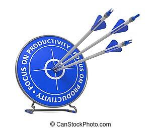 foco, productividad, concepto, -, golpe, blanco