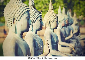 Buddhist Temple - Statues of Buddha in The Seema Malaka...