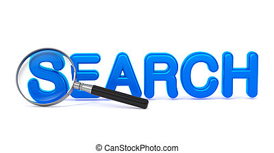 Search - Blue 3D Word Through a Magnifying Glass - Search -...