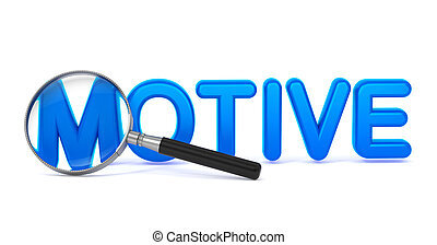 Motive - Blue 3D Word Through a Magnifying Glass - Motive -...