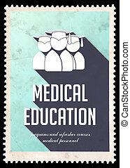 Medical Education on Blue in Flat Design. - Medical...