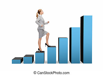 smiling businesswoman stepping on chart bar - business and...