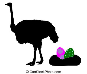 Ostrich with easter eggs