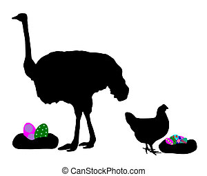 Hen and ostrich with easter eggs