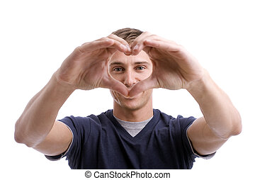 Young Man Drawing Heart with Hands