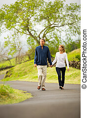 Mature middle age couple in love walking