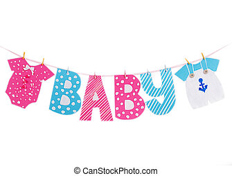 Baby shower boy and girl decoration garland isolated on...