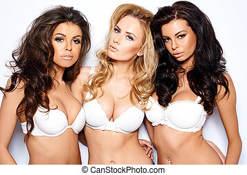 Three beautiful sexy curvaceous young women modeling white...