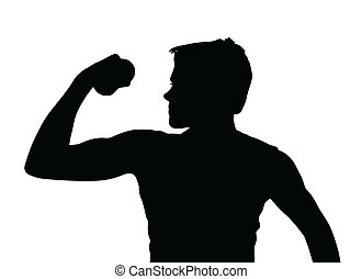 Teen Boy Silhouette Exercising Muscles with Dumbbell