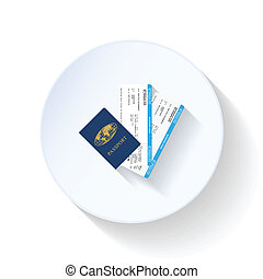 Passport and airline tickets flat icon