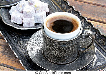 Turkish coffee and turkish delight with old traditional...