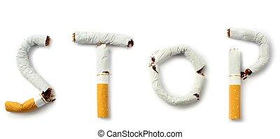 Stop smoking , on white background