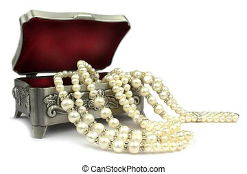 Red velvet jewelry box and pearl necklace on white...