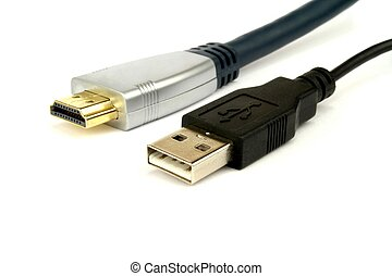 HDMI and USB Cable on white background.
