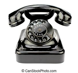 Old rotary phone. Contact icon.